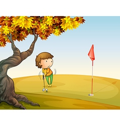 A woman playing golf at the park vector