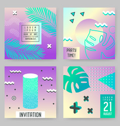Abstract tropical poster templates set with palms vector
