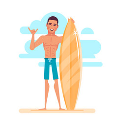 Attractive young surfer is holding surfboard vector