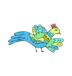 Bird doodle ethnic hand drawing birdie isolated vector