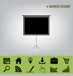 Blank projection screen black icon at vector