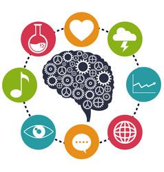 Brain gear analytical social media vector