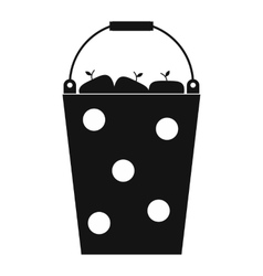 Bucket of fruit black simple icon vector image vector image