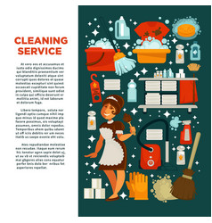 cleaning service promotional poster with maid in vector image vector image
