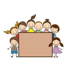 Colorful group cartoon children with board frame vector
