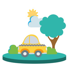 Colorful taxi car service in the city with tree vector