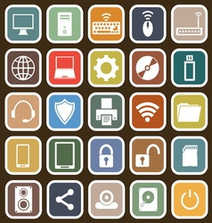 Computer flat icons on brown background vector