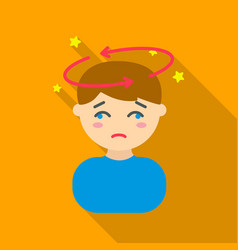 dizziness icon flate single sick icon from the vector image