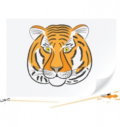drawing tiger vector image vector image