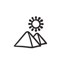 Egyptian pyramids sketch icon vector