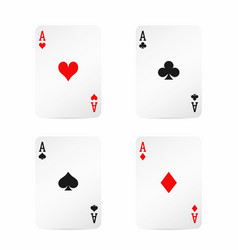 four aces playing cards with shadow isolated on vector image vector image