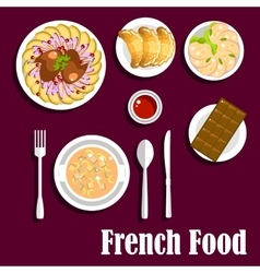 French cuisine food with croissants and chocolate vector