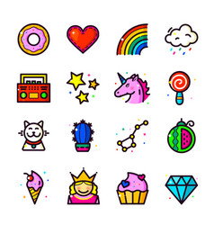 girl fashion patch icons set vector image vector image