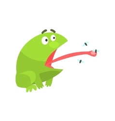 Green frog funny character catching flies with its vector