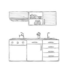 Hand drawn kitchen furniture vector image