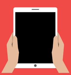 Hands holing tablet computer with a black screen vector