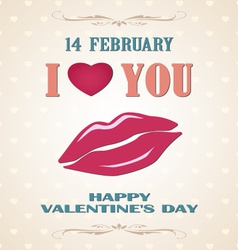 Happy Valentines day retro poster with lips vector image