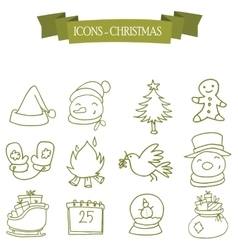 Holiday and christmas icons set vector