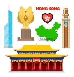 Hong kong china travel doodle with architecture vector