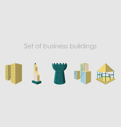 isolated city buildings icon set different vector image vector image