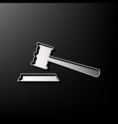 Justice hammer sign gray 3d printed icon vector