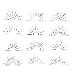 Radiant sunrise lineart design icons set template vector
