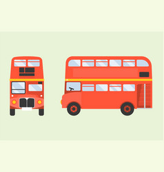 Red double-decker london bus icon in front and sid vector