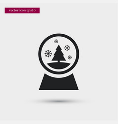 Xmas tree icon snowglobe simple winter sign vector