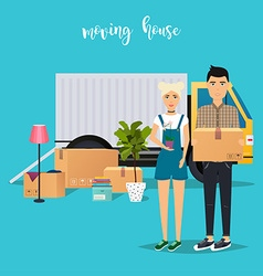 Young couple moving moving truck and cardboard vector