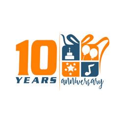 10 years gift box ribbon anniversary vector