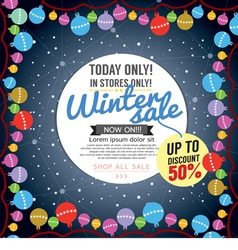 Winter concept up to 50 percent sale template vector