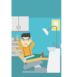 Scared patient in dental chair vector
