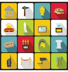Museum icons set in flat style vector