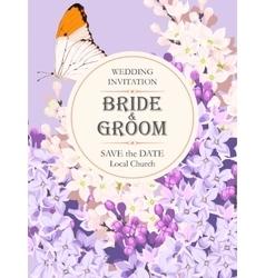 Wedding invitation with lilac vector