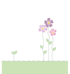 Flowers with leaves vector
