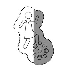 Monochrome contour sticker with woman over pinion vector