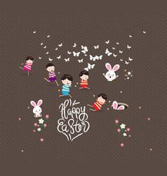 Happy easter kids bunny bunny grass vector