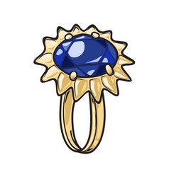 Luxurious gold ring with blue stone vector