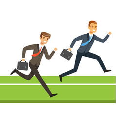 Two businessmen running with briefcase business vector