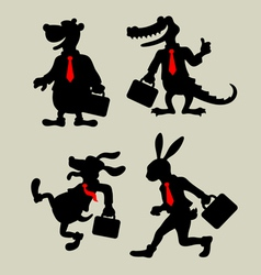 Animal business activity silhouettes vector