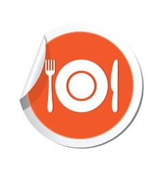 restaurant sign orange sticker vector image