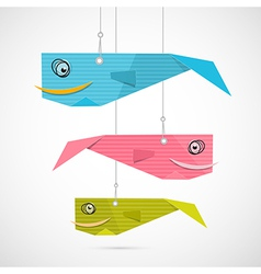 Paper fish hang on strings vector