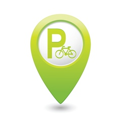 Parking bicycle symbol map pointer green vector