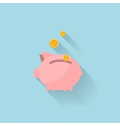 Flat piggy bank icon for web vector