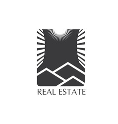 real estate icon with sun vector image