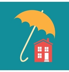 Umbrella closes house vector