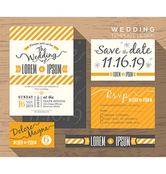 Modern yellow stripe wedding invitation template vector