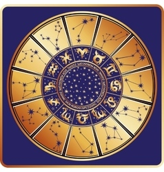 Horoscope circlezodiac signconstellationsstars vector