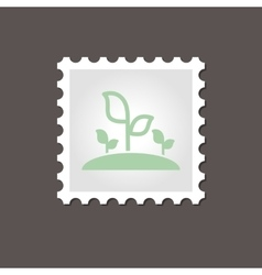 Plant sprout stamp outline vector