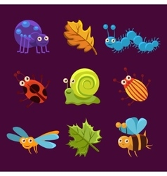 Cute insects and leaves with emotions vector